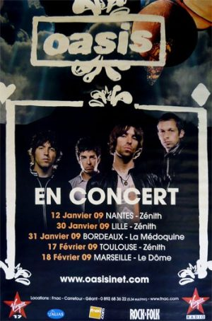 Oasis: Original Memorabilia - Dig Out Your Soul French Tour Poster