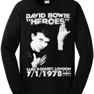 David Bowie: Long Sleeve T-shirt (mens) - Heroes Earl's Court 1978 Long Sleeve
