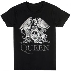 Queen: T-shirts (Mens) - Logo with Rhinestone