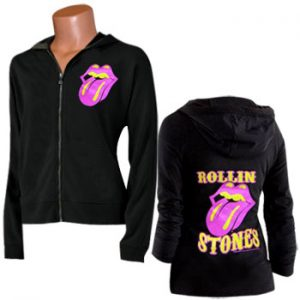 Rolling Stones, The: Hoodie - Girls Pink & Yellow Tongue