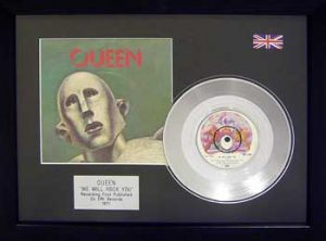 Queen: Framed Discs - Silver Single - We Will Rock You