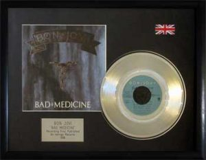 Bon Jovi: Framed Discs - Silver Single - Bad Medicine