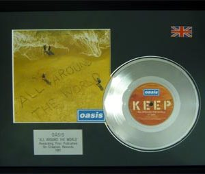 Oasis: Framed Discs - Silver Single - All Around The World