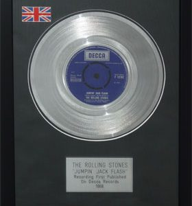 Rolling Stones, The: Framed Discs - Silver Single - Jumping Jack Flash (no sleeve)