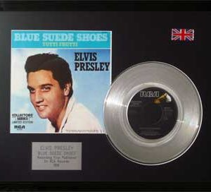 Elvis Presley: Framed Discs - Silver Single - Blue Suede Shoes