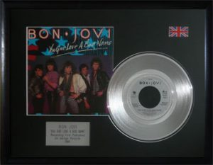 Bon Jovi: Framed Discs - Silver Single - You Give Love A Bad Name